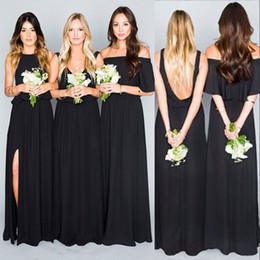 Chinese  Summer Boho African Black Bridesmaid Dresses Mixed Styles A Line Chiffon Gothic Maid of Honor Country Forest Wedding Guest Dresses manufacturers