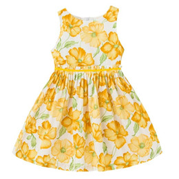 Barato Vestidos De Algodão Estilo Americano-Varejo 2017 Summer New Girl Dress Europeu estilo americano Algodão Floral Cotton Sundress Children Clothing 1-16Y H1702