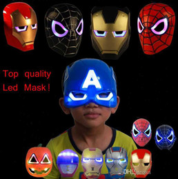 Discount iron man mask adult - New hot LED Glowing Light Mask SpiderMan woman Captain America Iron Man Masks For Kids Adults Party Halloween Birthday