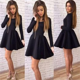 Barato Vestidos De Cetim De Cetim De Manga Comprida-Black Short Party Dresses Cheap Jewel A Line Cetim manga comprida Prom Dress Back Zipper Entrega rápida Homecoming Cocktail Dress Formal Wear