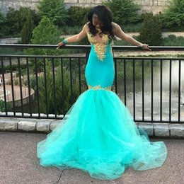 AquA tulle online shopping - Aqua Blue Sexy V Neck Gold Appliqued Mermaid Evening Dresses Sheer Long Sleeves Plus Size Formal Party Gowns Sequined Arabic Prom Dress Long