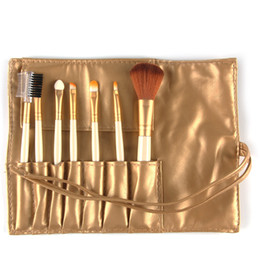 pink hair bags UK - Portable Makeup Brush Blush Lip Eyebrow Eyeshadow Make Up Brush Soft Synthetic Plastic Handle Portable Brushes with PU Bag MAG5206 7pcs set