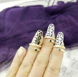 Ongles Conçus Pas Cher-Black Design Nail Armor Gold Tone Fingernail Rings Knuckle Finger Tip Ring Night Club Nail Guard