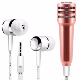 singing microphones NZ - Mini Microphone Fashion 3.5mm Portable Stereo MIC with headset For IPhone IOS Android Smartphone PC Laptop Chatting Singing O25