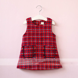 Barato Moda De Vestido Amarelo-Everweekend Girls Pocket Plaid Ruffles Dress Cute Baby Red and Yellow Color Clothing Princesa Coréia Moda Outono Vestuário