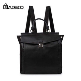 7728b66316 Wholesale- Baigio Men s Vintage PU Leather Backpack Multi Pockets Travel Rucksack  Top Quality Brand Fashion Preppy Style Men s Backpacks