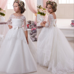 Comunion Dresses NZ - Flower Girls Dresses Kids Child Party Princess Lace White Ball Gown Scoop Half Sleeves Beaded Bow Wedding Girl Wear Vestidos De Comunion