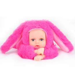 $enCountryForm.capitalKeyWord Canada - Reborn Baby Rabbit Bear Plush Doll Toys 25CM Open Eyes Cute Baby Dolls with Children Sleeping Best Birthday Gift For Kids