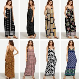 Bretelles À Vendre Pas Cher-Jupes sexy Robes Beach bohemian printing harness VENTE robe robes longues pour femmes 2017 Summer Women's Clothing Casual 1272