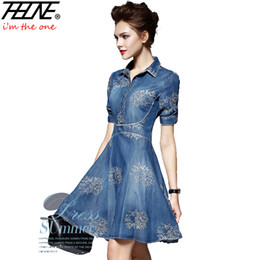 Robe De Soie Denim Pas Cher-Vente en gros- 2016 Denim Dress Women Plus Size Tunique Slim Embroidery Summer Style Short Sleeve Slim Casual Jeans Robes Vestidos Robe Femme