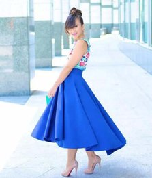 Hauts Bas Jupes Volants Pas Cher-Graceful Lady Royal Blue High Low Jupe 2017 Fashion New Satin Ruffles Womens Jupe Custom Made Cheap Party Skirts Livraison gratuite