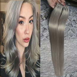 pu weft hair extensions 2019 - Wholesale- PU 100g Brazilian Hair Skin Weft Silver Grey Tape Extension 40 pcs 7a Grey Tape Hair Extensions Human Tape In