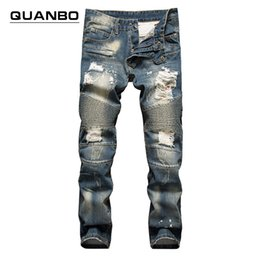 $enCountryForm.capitalKeyWord Canada - Wholesale-Retro colors jeans homme 2016 new Europe funky hole patches distressed jeans slim fit straight leg rock jeans Hot Sale