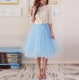 Red White Blue Tutus Australia - New Arrival Sky Blue Tulle Skirt Knee Length Tutu Skirt Casual Spring Summer Style Women Skirts custom bridesmaid skirt