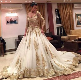 $enCountryForm.capitalKeyWord NZ - 2017 Gold Sequins Appliques Tulle Wedding Dresses with Sheer 3 4 Long Sleeves Deep V Neck Sparkling Beads Ball Gown Bridal Gowns Custom