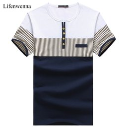 mens fashion t shirt trends 2020 - Wholesale- New Fashion Men's T Shirt Summer O-Neck Short Sleeve Stripe T-Shirt Mens Clothing Trend Casual Slim Fit
