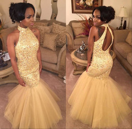 Robe Sequin Jaune Longue Pas Cher-2017 Puffy Mermaid Black Girl Robes de bal Long Tulle Jaune Bling Sequins Haute Cou Backless Evening Party Beading principale robe