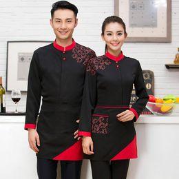 Hotel Restaurant Uniform Canada - q0228 Hot Pot Restaurant Coffee Shop Waiter Uniforms Female Hotel Waiter Korean Clothes with Long Sleeves with Apron