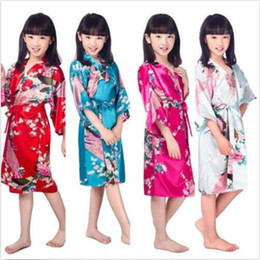 Barato Crianças Roupões De Banho Meninas-Kids Kimono Robe Girls Pijamas de seda Floral Robe Vestido de noite Rayon Bathrobe Roupa de dormir Children Fashion Payamas Flower Girl Night Dress J398