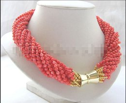 "magnet 5mm UK - Free Shipping ***P3659 - 18"" 12row 4-5mm orange round coral necklace - GP magnet clasp"