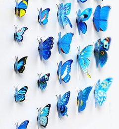 Curtains Walls Canada - 12Pcs set Household 3D Butterfly Wall Stickers Home Decorative Refrigerator Decor Wallpaper Decals for Curtain