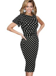 Wholesale prom wiggle dresses resale online – Polka Dot Summer Women Casual Dress Elegant Ruffle Sleeve Party Evening Pencil Sheath Prom Fit Stretch Wiggle Sexy Bodycon Dress KD