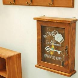 $enCountryForm.capitalKeyWord NZ - Vintage Home Decor Zakka Wooden Wall Key Holder Decorative Wall Shelves Hooks Racks Key Holder Rack 24*20*7.5cm