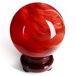 about 60mm High-temperature Heat Red Quartz Sphere Crystal Point Ball
