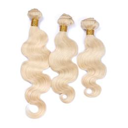 $enCountryForm.capitalKeyWord UK - 9A Virgin Brazilian Blonde Human Hair 3Bundles #613 Bleach Blonde Virgin Human Hair Weaves Body Wave Brazilian Hair Double Wefts DHL Free