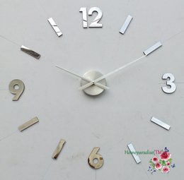 "Wall Clock Arabic Canada - Wholesale-25""- 40"" Arabic Numbers DIY Frameless Quartz 3D Wall Clock Metal Stainless Oversized Clock Living Room Decor Sticker Decal"