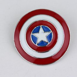 Chinese  Superhero Captain America Shield Round Small Icon Pins Brooch For Women Kids Gifts Joyeria Enamel Esmalte Broche Backpack Badge manufacturers