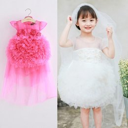 Barato Laço Vestido De Tule Véu-Summer Girls Princesa Dresses Girl Flower vestido de noiva véu 2pcs / set miúdos rendas Tiered Tulle formal Party vestido de baile vestido tutu LovekissA95