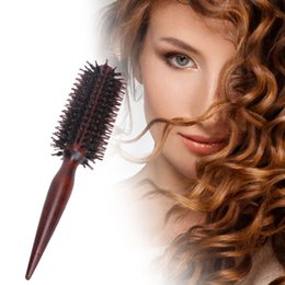 Hair Brushing NZ - Roll Round Comb Brush Hair Care Tool Wood Handle Natural Bristle Curly Hair Brush Fluffy Comb Hairdressing Barber Tool