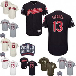 0f3a0c16b43 ... Mens Cleveland Indians 13 Omar Vizquel White Navy Baseball Jersey  Authentic Flex Base Player Jersey Size ...