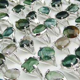 Cluster Rings For Womens Canada - Guaranteed 10pcs 100% Natural Green Stones Tourmaline Stones Mix Style Fashion Rings for Womens Mens Wholesale jewelry Lots A002