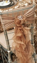 Discount orange wedding chairs sashes - Custom Made 2017 Chiffon Organza Ruffles Chair Covers Vintage Romantic Chair Sashes Beautiful Fashion Wedding Decoration