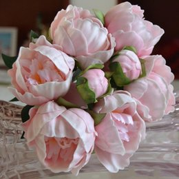 Real Flower Brooches Canada - Real Touch PU Peony Buds bouquet wedding bride Holding flower Bride Holding Brooch Bouquet home decorative ornament white pink color