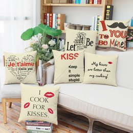 Wholesale 45cm g Saint Valentine s Day Gift Linen Fabric Throw Pillowcase inch Fashion Hotal Office Bedroom Decorate Sofa Chair Cushion cover