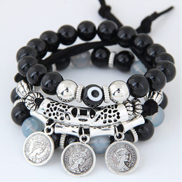 Eye Ring Accessories NZ - Bohemia Ethnic Fashion Jewelry Vintage Retro Beads Evil Eyes Carved Pattern Coin Accessories Multilayer Bracelets Elasticity Bangles Women