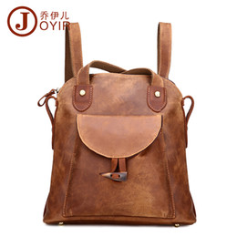Wholesale- JOYIR Fashion Genuine Leather women backpack vintage brown  school girl shoulder bag backpacks ladies shopping travel bags 3011 434bf42e77a81