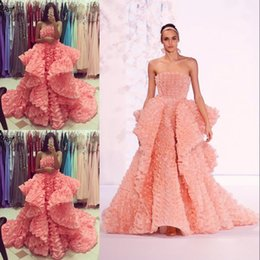 $enCountryForm.capitalKeyWord Canada - Gorgeous Blush Pink Evening Dress Sexy Strapless Layered Ruffles Charming Celebrity Party Dress 2017 Custom Made Stunning Red Carpet Dress