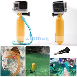hand floats Canada - Yellow Floating Hand Grip Thumb Screw and Adjustable Wrist Strap Selfie stick For Action Camera H9 Sport Camera