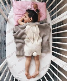 5 Color New INS Baby Girls Cute Rabbit Knitted Blankets Sleeping Swaddling Bags Children Blanket Kids Bunny Cheap