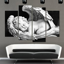 $enCountryForm.capitalKeyWord Canada - 4 Panels White and black angels Canvas modern Painting Naked Kids Wall Pictures For Living Room Entrance Home Figure DecorationFX028