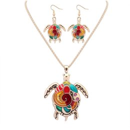 gold plated turtle pendant UK - Enamel Rainbow Sea Turtle Pendant Necklace Earring Sets Women Jewelry Silver Gold plated Animal Enamel Jewelry Set Gift