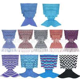 $enCountryForm.capitalKeyWord Canada - 31yh Creative Design Mermaid sleeping bag Dimensional knitting Fish scales Blanket Tail Tassel Sleep Sack Wavy Pattern Sofa Blankets Popular