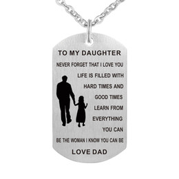 Wholesale Dad To My Daughter Necklace Personalized Custom Military Dog Tags Pendant Gift Never Forget I Love You