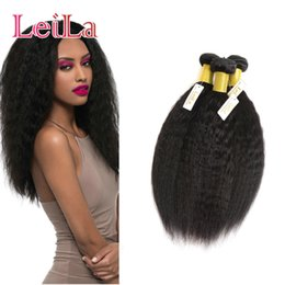 ItalIan haIr weave online shopping - Brazilian Human Hair Wefts Kinky Straight Bundles inch inch Pieces One Double Weft Natural Color Italian Coarse Yaki