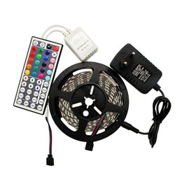 Discount uk power strip - Christmas Lights 5M 300 Leds 3528 SMD Led Strips Light RGB Waterproof + IR Remote Controller + 12V 2A Power Supply With
