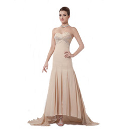 0bda01a06488e 2017 Spring Collection Champagne Chiffon Bride 2017 Party Dress Beaded  Sweetheart Long Dress Evening New Brand